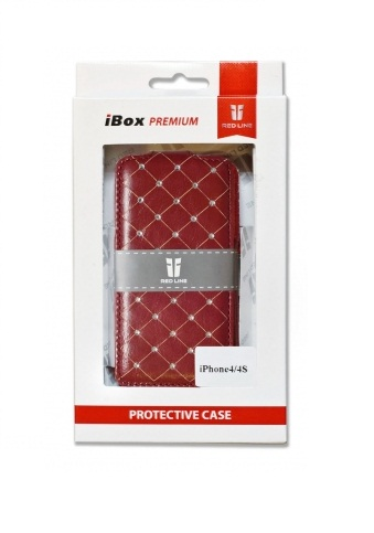 Чехол Red Line  Ibox Premium для Apple IPhone 4 Red Стразы
