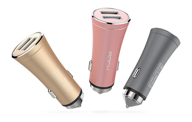 Rock H1 Car Charger with Hammer 2 USB 2.4A (RCC0117) Space Grey