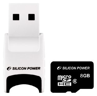 Карта памяти Micro SDHC Card 8GB Class+Stylish USB Reader