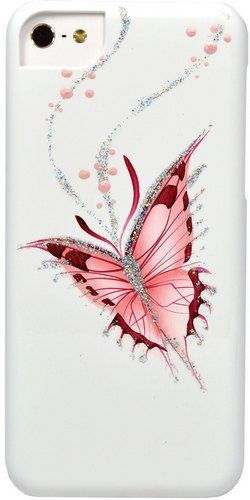 Накладка iCover для iPhone 5C Hand Printing Happy Butterfly  IPM-HP-HB/W White
