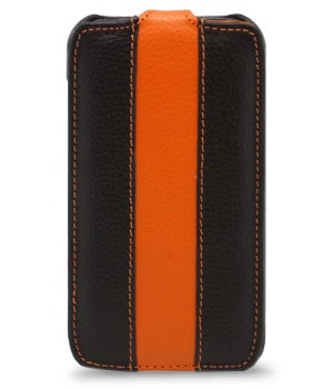 Чехол Melkco Leather Case для Samsung Galaxy S4 mini i9190 Jacka Type Black/Orange