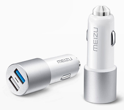 Meizu Dual Port Car Charger 2USB 3A MCharge White
