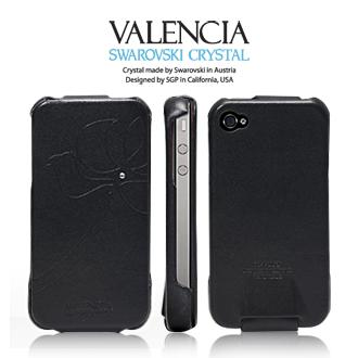 Чехол SGP Leather Pouch Valencia Black Swarovski for iPhone 4