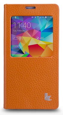 Чехол JisonCase Folio Case для Galaxy S5 G900 Brown