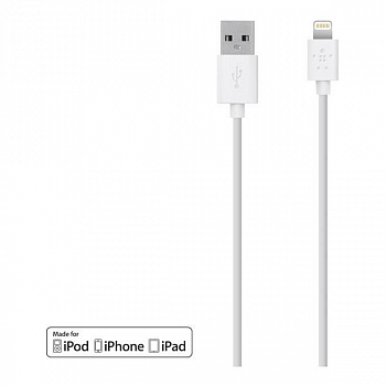 Кабель USB Belkin 1.2m F8J023bt04 для Apple iPhone 5 / 5S / 5C White