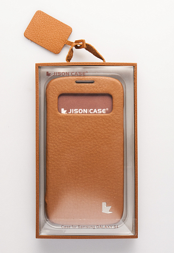 Чехол JisonCase Smart Leather Case для Galaxy S4 Mini i9190 / i9192 / i9195 Orange