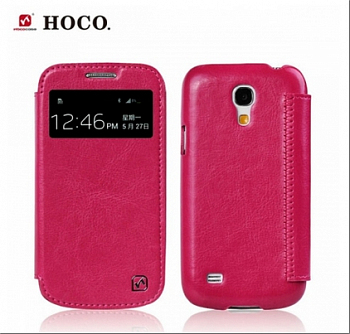 Чехол HOCO Crystal View series Leather case для Samsung Galaxy S4 Mini i9190/i9192/i9195 Rosу Red