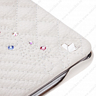 Чехол JisonCase Smart Leather Case для IPad 4 / IPad 3 / IPad 2 со стёганым узором и стразами White