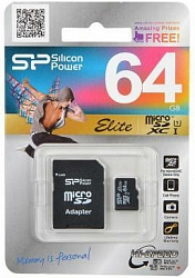 Карта памяти Silicon Power Elite UHS-I  Micro SDXC 64GB Class 10