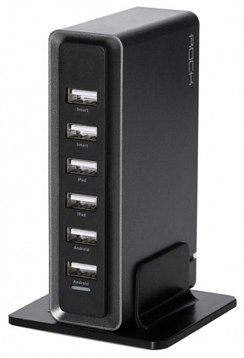 Сетевой блок питания Rock Rocket Desktop Charger 6-port USB 8A Black