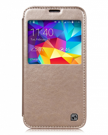 Чехол Hoco Crystal Series Leather case for Samsung Galaxy S5 G900 Gold