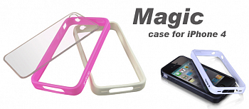 Бампер X-DORIA Magic case for iphone 4 Pink&White