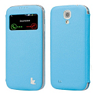 Чехол JisonCase Smart Leather Case для Galaxy S4 i9500 Book Type Blue