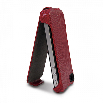 Prestigio Protective Leather Case Iguana Red for iPhone 4