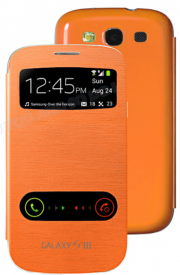 Чехол Flip Cover с окошком для Samsung i9300 Galaxy S III Orange