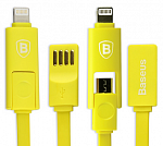 Кабель USB Baseus Dual port series 20см Apple/Android Yellow