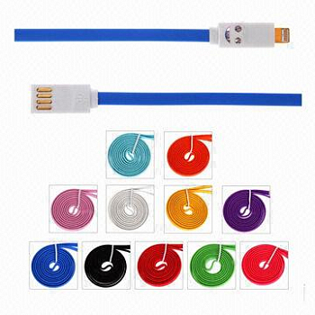 Кабель USB Smile Face LED для Apple iPhone 5 / 5S / 5C Blue Green