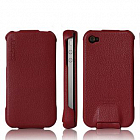 Чехол SGP Leather Case Argos Red for iPhone 4