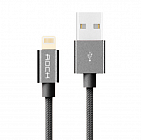 Кабель USB/Lightning Rock Metal Charge & Sync Round Cable 1000mm Space Grey