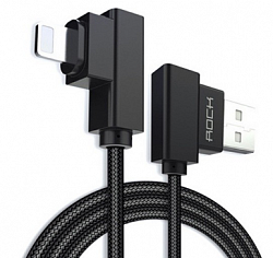 Кабель USB/Lightning Rock Dual-end L-shaped Lightning Data Cable 100cm (RCB0519) Black